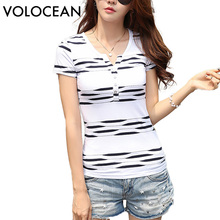 VOLOCEAN New Womens Tops Fashion 2017 Summer Casual T-shirts 100% Cotton Striped T Shirt Women High Quality Female V-Neck Tshirt(China)