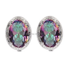 Eulonvan First class products Recommend Promotion Rainbow Mystic Cubic Zirconia beautiful 925 sterling Silver Earrings S--3714