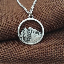 1pcs Lovely Pine Tree pendant in the forst Mountain necklace camping jewelry Lover Gift  Live in the nature girl gift SanLan