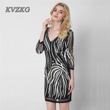 KVZKG 2017 Summer Vintage V Neck Shiny Sequined Short Dress Paillette 3/4 Sleeve Mesh Perspective Sexy Party Pencil Dress