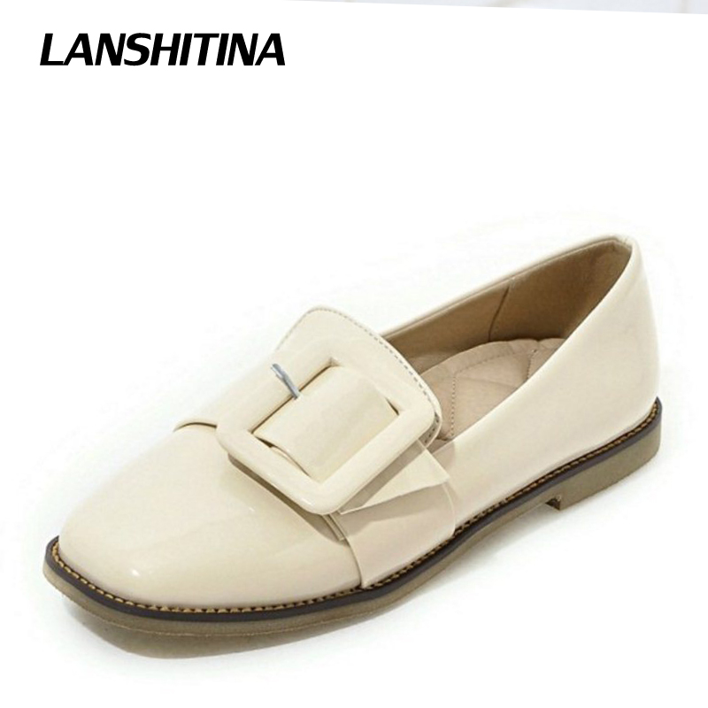 Womans Flats Soft Loafers Shoes Casual Women Flats Fashion Big Buckle Square Toe Quality Simple Shoes Size 32-43 G1142<br>