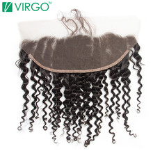 Lace frontal closure Deep Curly Virgo Hair Company 100% Remy Human Hair Slightly Pre-Plucked Natural Hair Line With Baby Hair