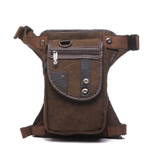 quality men waist pack waterproof canvas waist leg bag Fanny pack casual military belt thigh bag trunk bum bag hip pouch 5 color