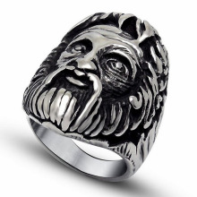Retro Vintage Titanium Stainless Steel Punk Rock Ethnic Indian Chief Skull Ring Men Jewelry Rings for Mens(China)
