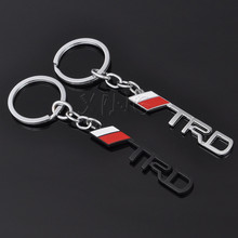 Fashion Metal 3D Car Logo TRD Keychain Key Chain Key Ring Keyring Car-Styling For Toyota Corolla rav4 hilux Yaris Auris Avensis(China)
