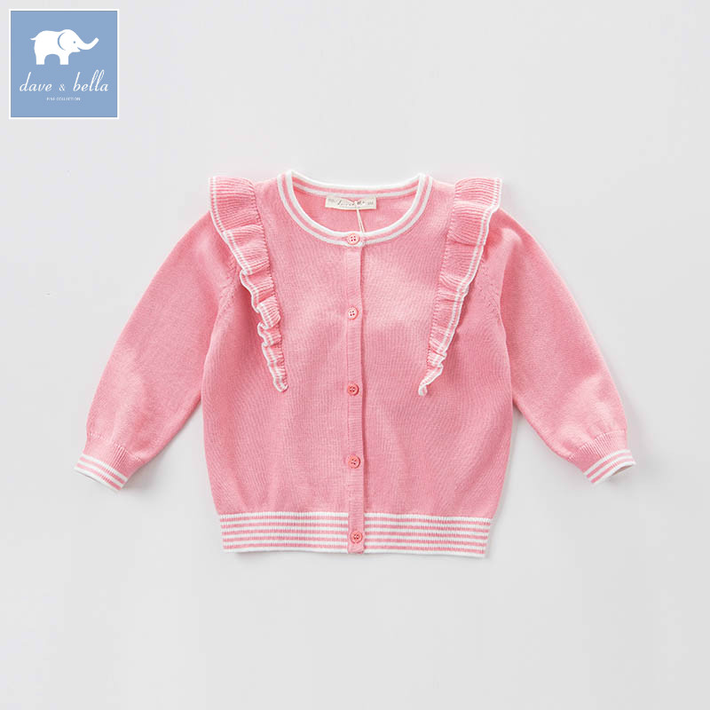 DBB6922 dave bella spring infant baby girls fashion cardigan kids toddler coat lolvely children knitted sweater<br>