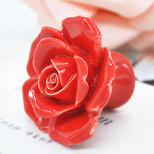 Modern Rose Flower Handles Cabinet Ceramic Knobs Flowers Kitchen Handles Dresser Closet Kids Bedroom Furniture 5 Colors