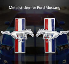 Fashion Car Styling metal Stickers DIY 3D Car Sticker Funny for Ford mustang logo Accessories Sliver /Black