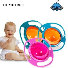 HOMEtree Creative Baby 360 Rotating Spill-Proof Feeding Bowl ABS Plastic Healthy Kids Non Spill Toddler Flying Saucer Bowl H100(China)