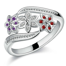Women's Cute Flowers Silver Plated Ring Charm Zircon Inlaid Party Jewelry High Quality(China)
