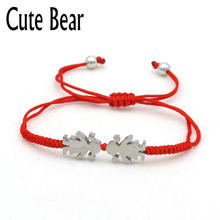Cute Bear Brand Charm Red Rope Bracelets For Women Jewelry Stainless Steel Boy Lucky Little Girl Woven Bracelet Birthday Gift(China)