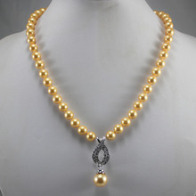 factory price wholesales/retail noblest 8mm yellow shell pearl necklace+14mm shell pearl pendant gift free shipping(China)