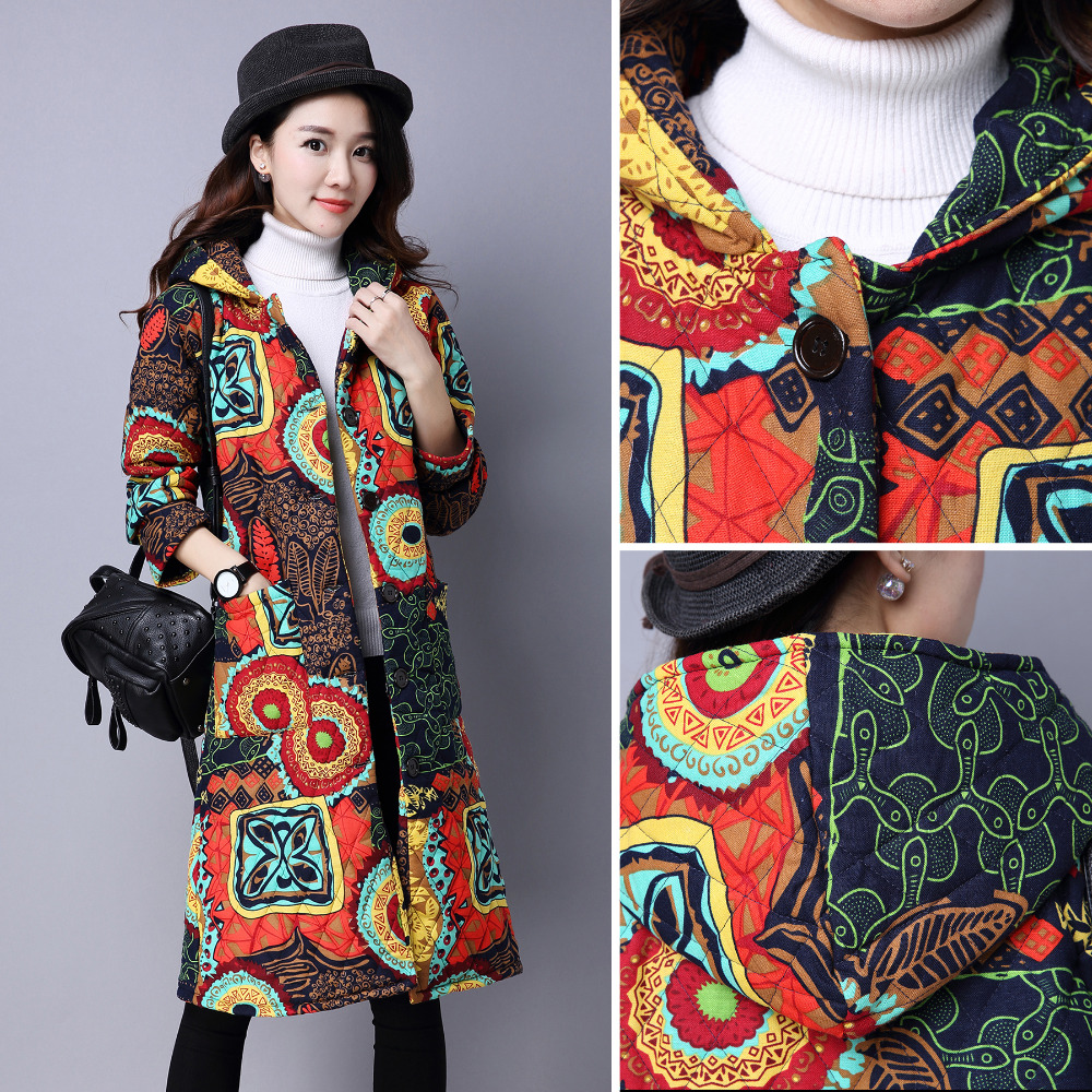 Winter Floral Hooded Warm Long Coats Thicken Cotton-padded Outwear Loose Print Cotton Jacket Cotton Linen Long Trench CoatОдежда и ак�е��уары<br><br><br>Aliexpress