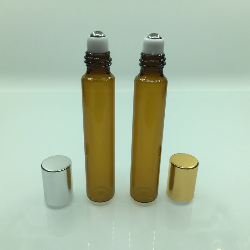 Free Shipping 100pcs/lot 10ml Glass Essential Oils Roller Bottles In Refillable Cosmetic Container With Steel Ball Glass Vials(China)