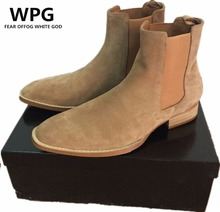 WPG 2017 NEW style Top quality 5color euro 37-47 designer men shoes luxury brand Chelsea mens boots shoes(China)