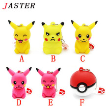 JASTER Pen drive cartoon cute Pikachu pokemon pendrive 32gb 16gb 8gb 4gb usb flash drive memory stick poke ball U disk gift