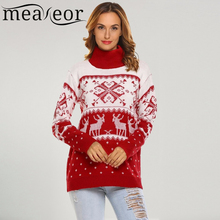 Meaneor Wool Christmas Sweater Women High Neck Long Sleeve Knitted Christmas Pattern Deer Printed Pullover Slim Sexy Sweaters(China)