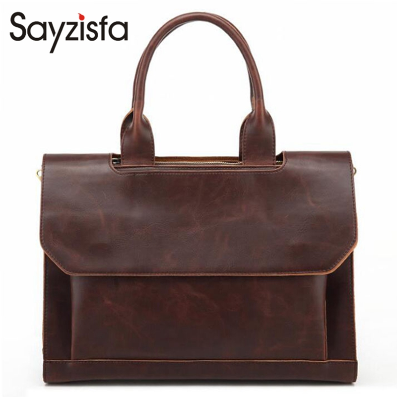 Sayzisfa Famous Brand New Men Handbags Genuine Leather 2017 Man Business Shoulder Bags Male Tote Messenger Bags Briefcase T403<br>