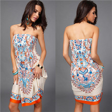 Women Summer Dress Plus size 2XL Bohemian Vintage Floral Print Dress Sexy Wrapped Strapless Dress Milk Ice Silk Sundress 5 Color