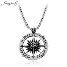 Viking Vintage Punk Symbol Nordic Pirate Compass Pendant Ancient Silver Steering Wheel Necklace for Men's Accessories Jewelery