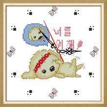 Innovation items needlework kit DIY home decoration counted cross stitch kit clock embroidery set - Two dogs (clock face)
