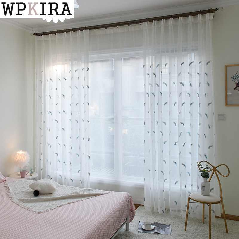 Floral Embroidered Tulle Sheer Curtains For Living Room Voile Window Curtains For Bedroom Children Organza Curtains 056&30