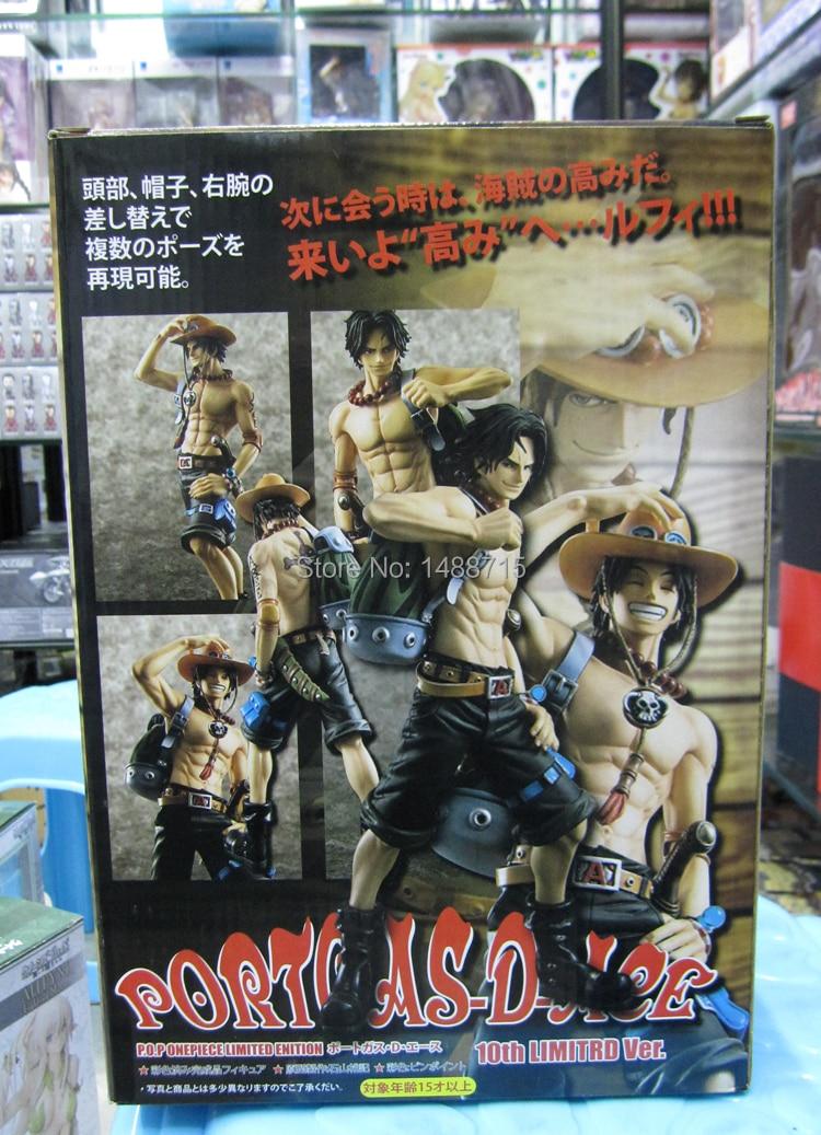 New Hot Megahouse Portrait of Pirates Excellent Model Comic Anime One Piece Portgas D. Ace 10th 9 Action Figure Toys Box<br>