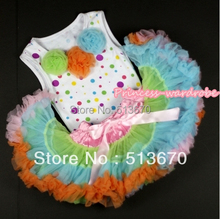 White Rainbow Dot Newborn Pettitop with Light Green Orange Light Blue Rosette &Light-Colored Rainbow Newborn Pettiskirt  MANP005