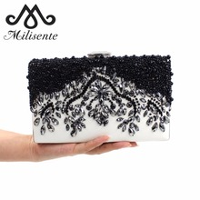 Milisente Women Black Clutch Wedding Bags Female Vintage Clutches Ladies Beaded Pearl Evening Bags Party Purses(China)