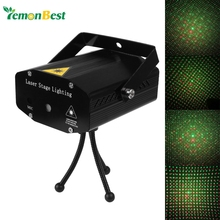 Mini DJ Club Disco Projector Stage Laser Light Green Red Music Control Function AC110-240V EU US UK AU Plug(China)