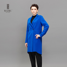 BASIC EDITIONS Women Coat Winter Autumn Blue Wool Coat Long Woolen Turn-down Collar Coat Female Overcoat Lady Jacket DH221(China)