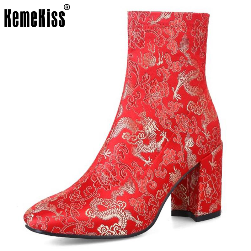 KemeKiss Size 33-43 Ladies High Heel Boots Women Embroidery Zipper Round Toe Thick Heels Boot Party Female Wedding Botas Mujer<br>