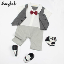 Infant Clothes Baby Boy Rompers Striped Suspender Newborn Bow Tie Suit Gentleman Formal Suit Baby Romper New Born Clothes