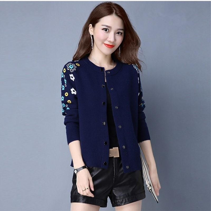 M-3XL!New Arrive Ladies' Small Cardigan Female Joker Short Design Long Sleeve Embroidery Sweater Fashion Cardigans(China (Mainland))