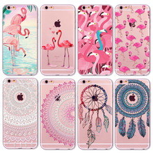 Colorful Flamingo For iPhone 8 7 6 6s 5 5S SE Phone Case Cover Transparent Soft Silicon Mobile Phone Capa Fundas(China)
