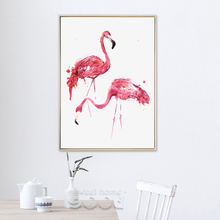 Watercolor Flamingo Canvas Art Print Painting Poster,  Wall Pictures for Home Decoration, Giclee Print Wall Decor S16009