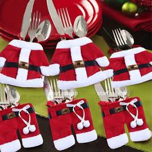 Hot Santa Claus Dinner Knives Cover Christmas Cutlery Holder Bags Fork Spoon Pockets Christmas Decor(China)