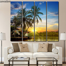 4 piece canvas art Palm trees sunrise wall pictures for living room canvas floral paintings Free shipping/up-1400D