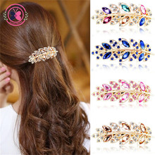 Haimeikang 2017 Princess Rhinestone Gold Plated Leaf Hair Clip Headwear Women Elegant Crystal Spring Clip Hairpins Headdress(China)