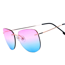 Clearance Sale Items Metal Aviation Mirror Pink Sunglasses Women Brand Designer Aviador Rimless Sun Glasses Cheap China Hot Sold(China)