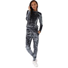 Fashion Women Lounge Wear Sets Tracksuit Ladies Crushed Velvet Lounge Suit Sweatshirt Pant