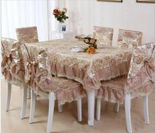 European lace floral jacquard tablecloth set suit 130*180cm table cloth matching chair cover 1 set price 3colors  free ship