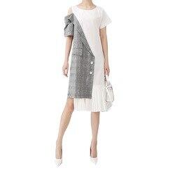 Женское ассиметричное платье, повседневное плиссированное платье средней длины составного кроя на одно плечо, модель 5108 в корейском стиле ...