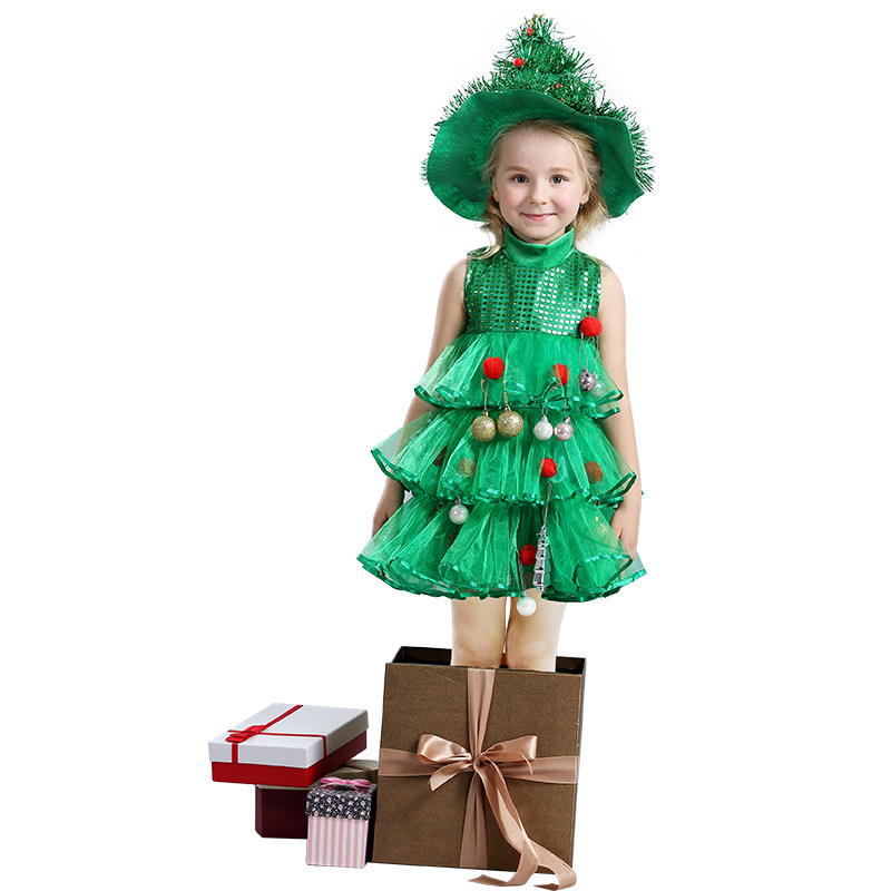 Cute Baby Girl Christmas Costumes Layered Dress With Pointed Hat Sequined Dress Kid Xmas Mesh Clothes For Girls<br><br>Aliexpress