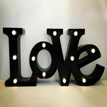 """LOVE"" Black LED Marquee Sign LIGHT UP Vintage Adhesive letter love shape Plastic light valentine's Day Indoor Decoration"
