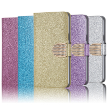 New Fashion Bling Diamond Glitter PU Flip Leather mobile phone Cover Case For Alcatel One Touch POP C9 Dual 7047 7047D
