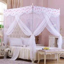 Palace mosquito net quadrate lace summer polyester net curtain stainless steel frame floor-net netting three-door moustiquaire(China)