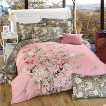 Floral Bed Sheet Bedding Set Twin Full Queen King UK Double AU Single Size 100% Cotton Duvet Cover Flat Sheet Pillow Cases(China)