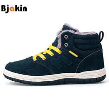 Bjakin Winter Men Running Shoes Plush Warm Suede Leather Boots Fur Sports Shoes Man Women Snow Sneakers Unisex Plus Size 35-46