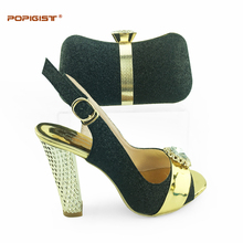 Women Shoes and Bag Set In Italy Black Color Italian Shoes with Matching Bag Set Decorated with Rhinestone Italy Shoes and Bag(China)